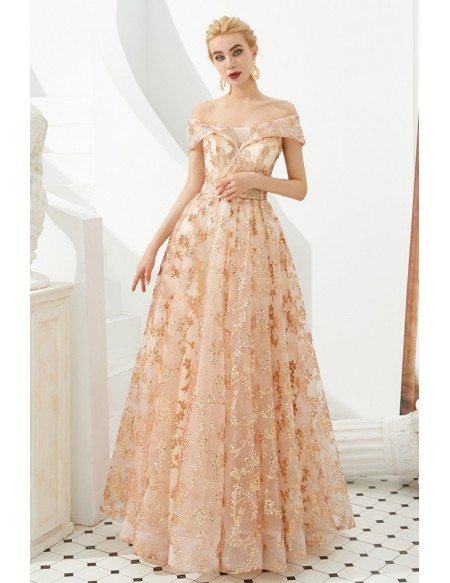 2020 Beautiful Off Shoulder Long Prom Dress With Shiny Sequin Lace