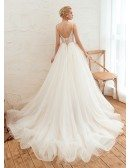 Goddesses Tulle Low Back Beach Wedding Dress With Spaghetti Strap