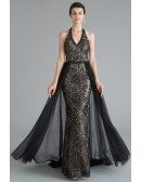 Long Halter Black Lace Tulle Formal Dress With Open Back