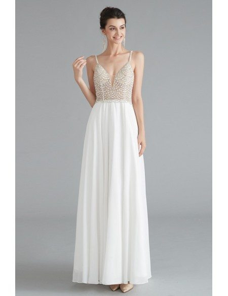Elegant Chiffon Open Back Long Formal Party Dress With Beading Top