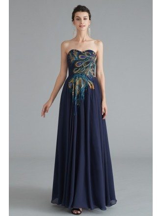 Navy Blue Strapless Long Chiffon Formal Dress With Sequin Decoration