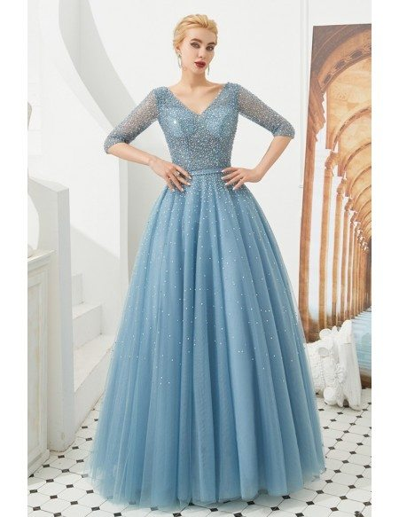 Elegant A Line V Neck Formal Prom Dress With Beading Sleeves