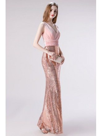 Sexy Sparkly Gold And Pink Velvet Semi Formal Dress For 2020
