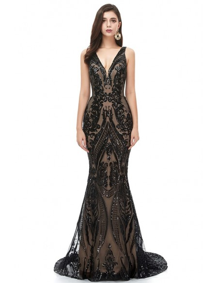 Stunning Long Black Sequins Mermaid Prom Dress Sparkly With Vneck