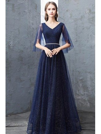 Navy Blue Sparkly Long Tulle Prom Dress With Puffy Sleeves Beaded Waist