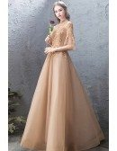 Champagne Gold Embroidery Long Formal Dress Tulle With Bell Sleeves