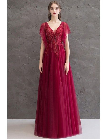 Beaded Burgundy Slim Long Prom Dress With Puffy Tulle Sleeves