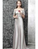 Long Formal Grey Sequined Classy Prom Dress With Tassels Sequins Sleeves