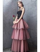 Special Black Tulle With Pink Layered Party Dress With Illusion Neckline