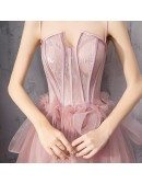Rose Pink Tulle Party Prom Dress Corset With Spaghetti Straps