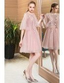 Beaded Flowers Pink Tulle Short Party Dress With Tulle Puffy Sleeves