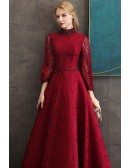 Retro Vintage Burgundy Full Lace Long Formal Dress With 3/4 Sleeves