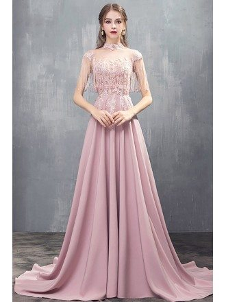 Luxury Tassels Beaded Long Train Satin Evening Prom Dress With Illusion Neckline