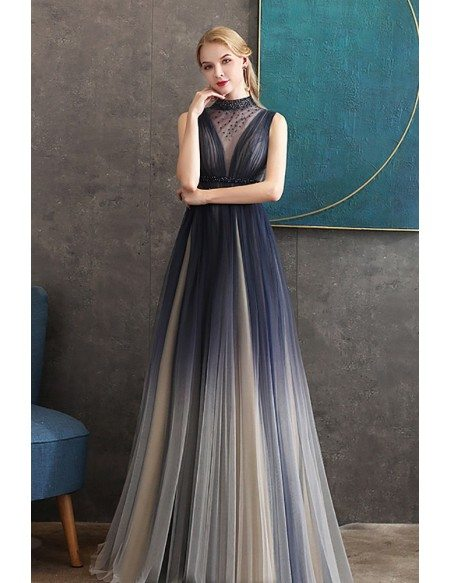 Beaded Sheer High Neckline Ombre Flowy Prom Dress With Sheer Back