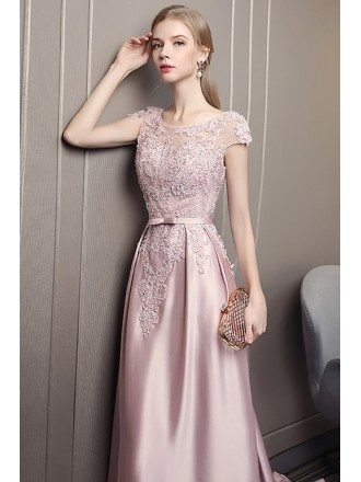 Luxury Long Pink Satin Evening Prom Dress With Lace Cap Sleeves