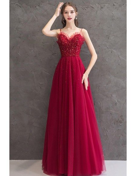 Burgundy Bling Tulle Aline Party Dress With Spaghetti Straps