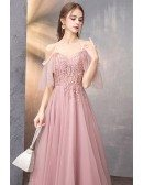Rose Pink Aline Long Prom Dress With Straps Tulle Sleeves