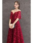 Full Lace Long Burgundy Formal Dress With Illusion Cape Sleeves