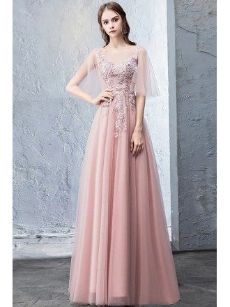 Fairy Pink Puffy Sleeves Aline Prom Dress Long With Appliques
