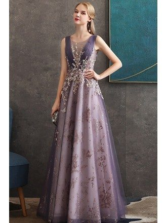Luxury Purple Aline Formal Long Party Dress With Sparkly Embroidery