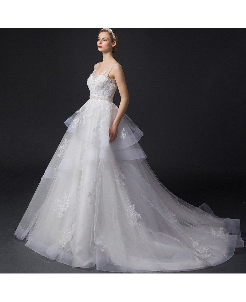 Dreamy Ball-Gown V-neck Court Train Tulle Wedding Dress
