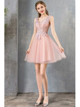 Cute Short Pink Tulle Party Prom Dress With Beaded Appliques