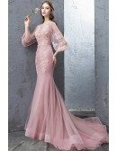 Stunning Mermaid Pink Tulle Lace Formal Dress With Tulle Sleeves Flare