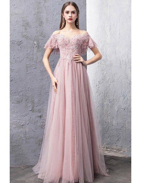 Gorgeous Off Shoulder Long Tulle Pink Prom Dress With Beading