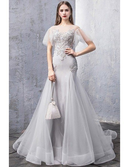 Fitted Mermaid Stunning Grey Long Prom Dress With Illusion Sleeves