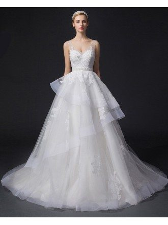 Dreamy Ball-Gown V-neck Court Train Tulle Wedding Dress With Appliques Lace