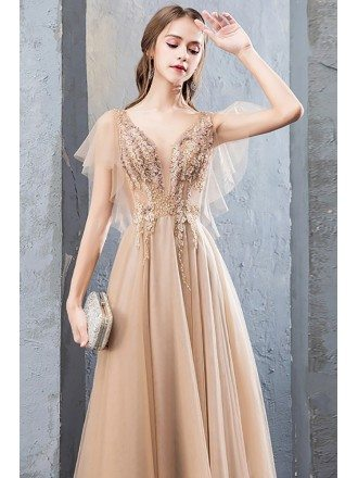 Gorgeous Champagne Long Aline Prom Dress With Tulle Puffy Sleeves