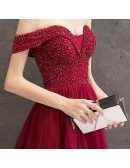 Sequined Top Off Shoulder Long Party Prom Dress With Bling