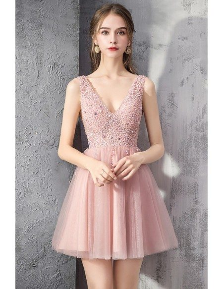 Rose Pink Tulle Short Prom Dress Vneck With Bling Sequins