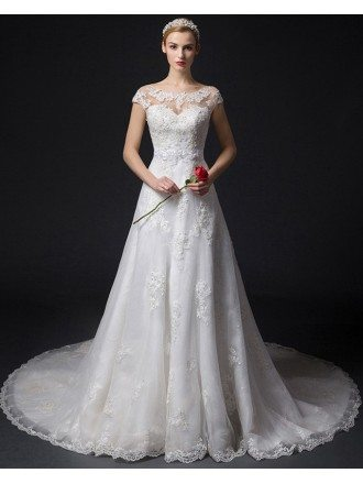 Feminine A-Line Scoop Neck Court Train Tulle Wedding Dress With Appliques Lace