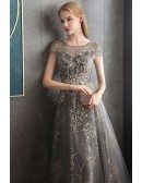 Sparkly Sequins Long Grey Formal Prom Dress With Sheer Cap Sleeves