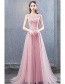 Pink Tulle Sequined Flowy Prom Dress With Illusion Neckline