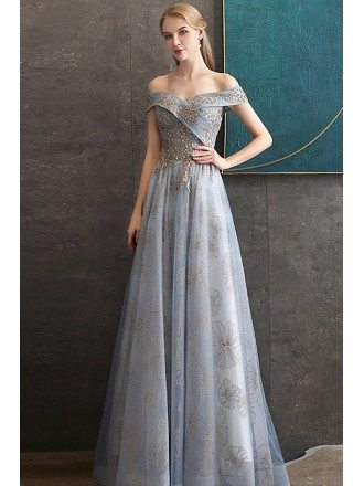 Off Shoulder Lace Flowers Dusty Blue Prom Dress With Embroidery