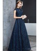 Navy Blue Beaded Cap Sleeves Full Lace Long Party Dress For Formal