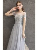 Gorgeous Grey Bling Sequins Modest Prom Dress With Illusion Short Sleeves