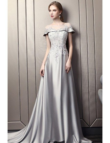 Elegant Grey Long Evening Dress With Beaded Lace Illusion Neckline