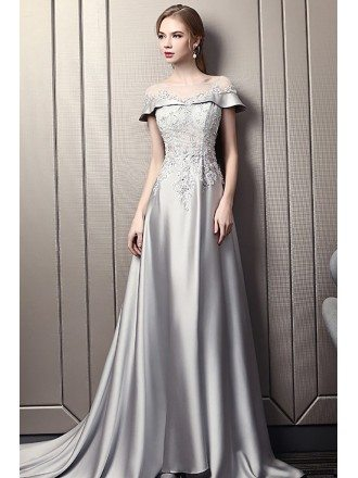 Elegant Grey Long Evening Dress With Beaded Lace Illusion Neckline