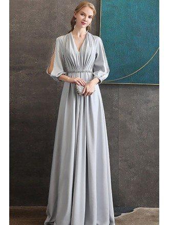 Elegant Long Grey Evening Formal Dress Vneck With Long Sleeves