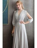 Elegant Long Grey Evening Formal Dress Vneck With Long Sleeves