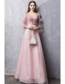 Fairy Pink Tulle Cold Shoulder Long Prom Dress With Tulle Sleeves