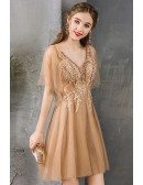 Champagne Short Lace Aline Party Dress Pretty With Puffy Sleeves