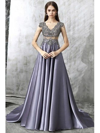 Exotic Beaded Pleated Purple Long Prom Dress Vneck With Train
