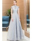 Beaded Cap Sleeves Full Lace Long Party Dress Grey For Formal