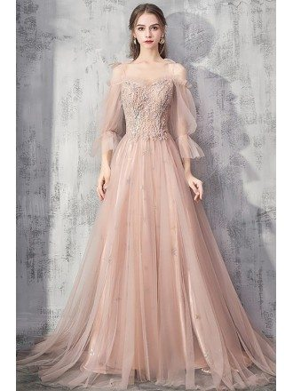 Beautiful Long Pink Beaded Prom Dress With Tulle Bubble Sleeves