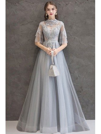 Long Grey Luxe Beaded Tulle Prom Dress With Sheer Flare Sleeves