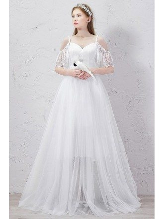 Romantic A-Line Sweetheart Detachable Floor-Length Tulle Wedding Dress With Ruffles